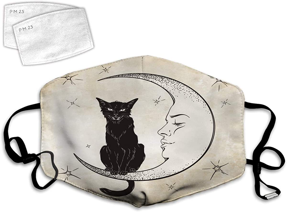 Multi Usage Face Cover UP Dot Engraving Black Cat Sitting On Moon Wiccan Creepy Wildlife Vintage Holiday Pet Spirit Design Balaclava Reusable Windproof Mouth Cover with 2 Filter