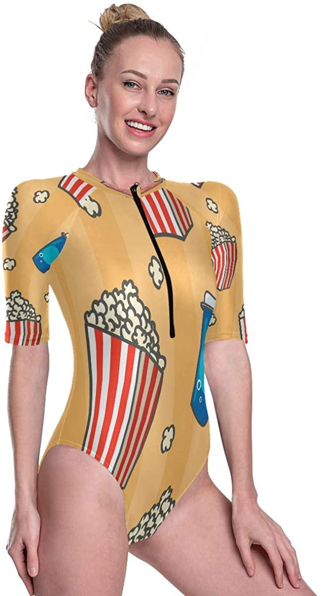Women's One Piece Short Sleeve Rashguard Swimsuit Popcorn Bucket Cute Funny Cartoon Surf Swimwear