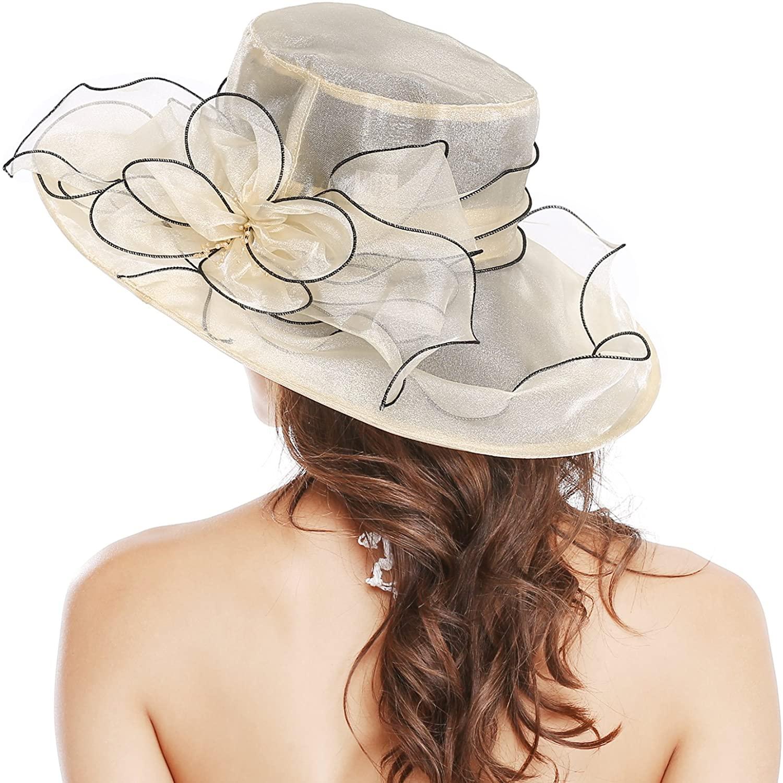 Bellady Kentucky Derby Hats for Women Organza Church Dresses Cap Tea Party Wedding Hat