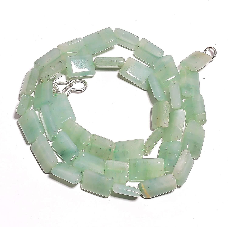 kanta incorporation Natural Green Aventurine Gemstone Radiant Smooth Beads Necklace 17
