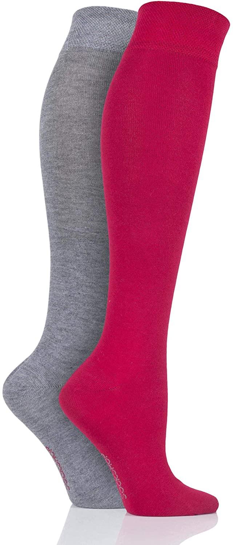 SockShop Women's 2 Pair Sockshop Plain Bamboo Knee High Socks