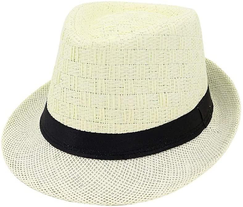 Casa perfecta Summer Straw Sun Hat Jazz Hat Straw Fedora Hat Women Men Couple Pattern Woven Fashion Sun Hat Size:56-58cm (Color : Light Khaki, Size : 56-58cm)