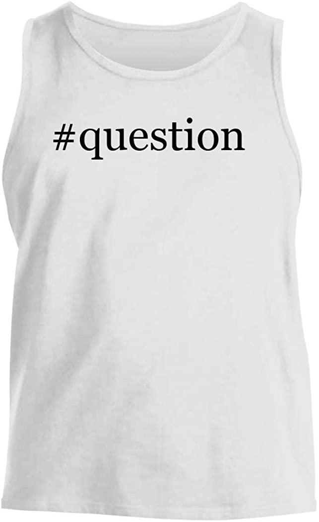#question - Men's Hashtag Comfortable Tank Top, White, Small