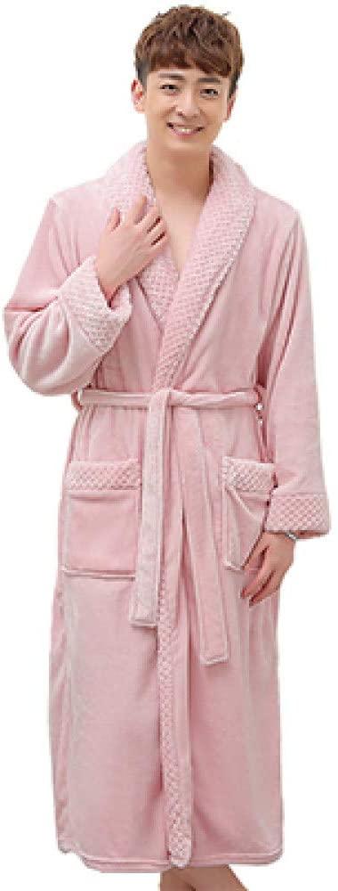llwannr Bathrobe Robe Nightgown Sleep,Women Men Winter Extra Long Warm Bathrobe Luxury Thick Flannel Grid Bath Robe Soft Thermal Dressing Gown Bridesmaid Robes,Pink Men,M