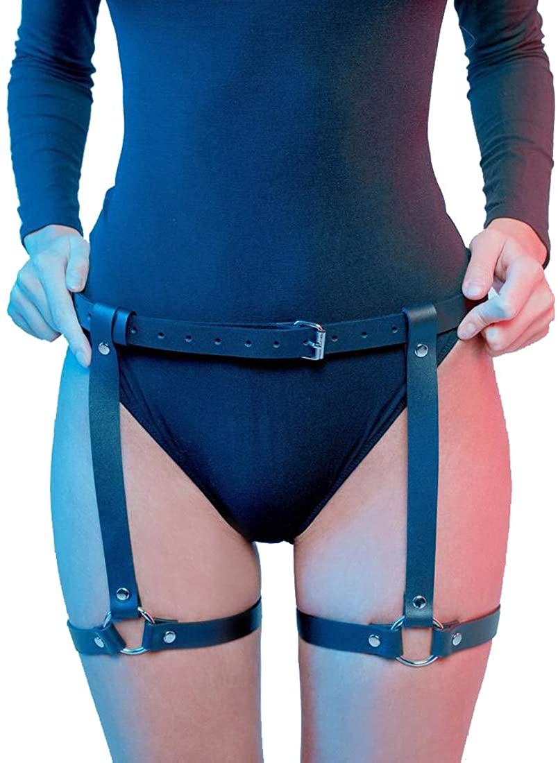 Topfur Leg Harness Caged Garter Belts Adjustable Waist Thigh For Women Rave Outfits