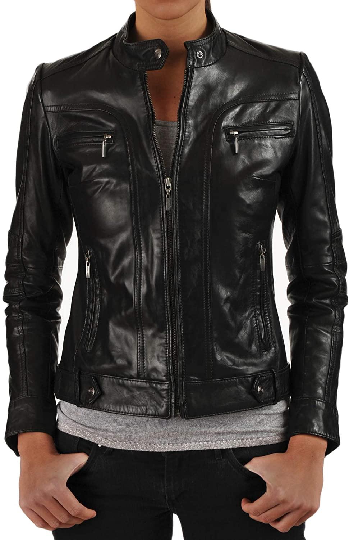 SKINOUTFIT Women's Leather Jacket Stylish Motorcycle Biker Genuine Lambskin 125