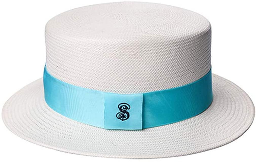 MT-SDKS Women's Lightweight Beach Ivory White Woven Straw Boater Sun Hat