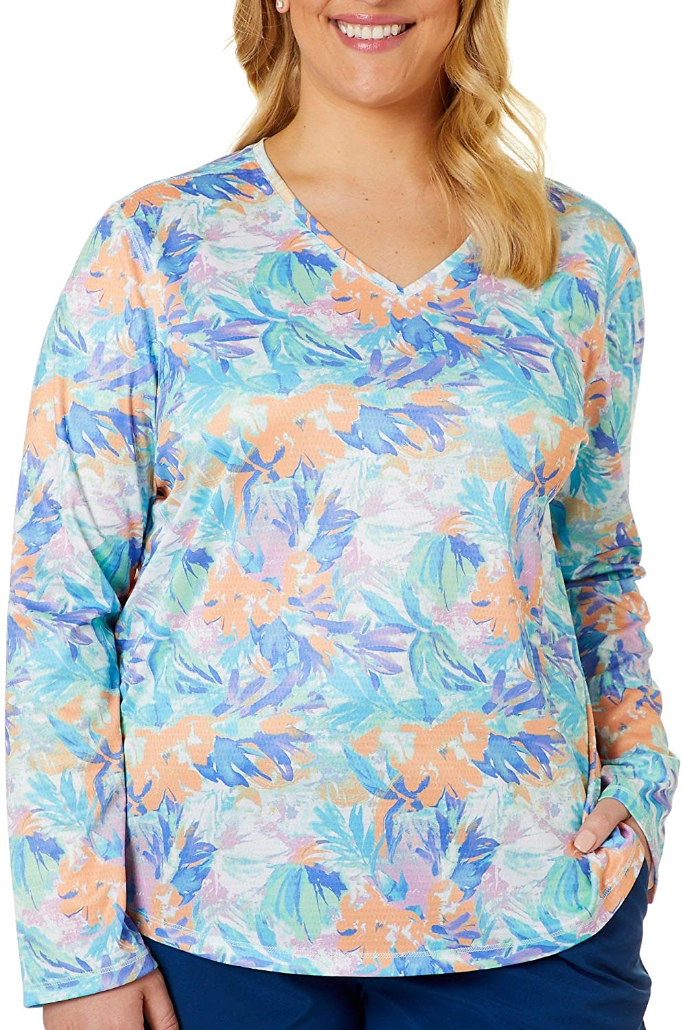 Reel Legends Plus Freeline Moving Floral Shimmer Top 2X Multi