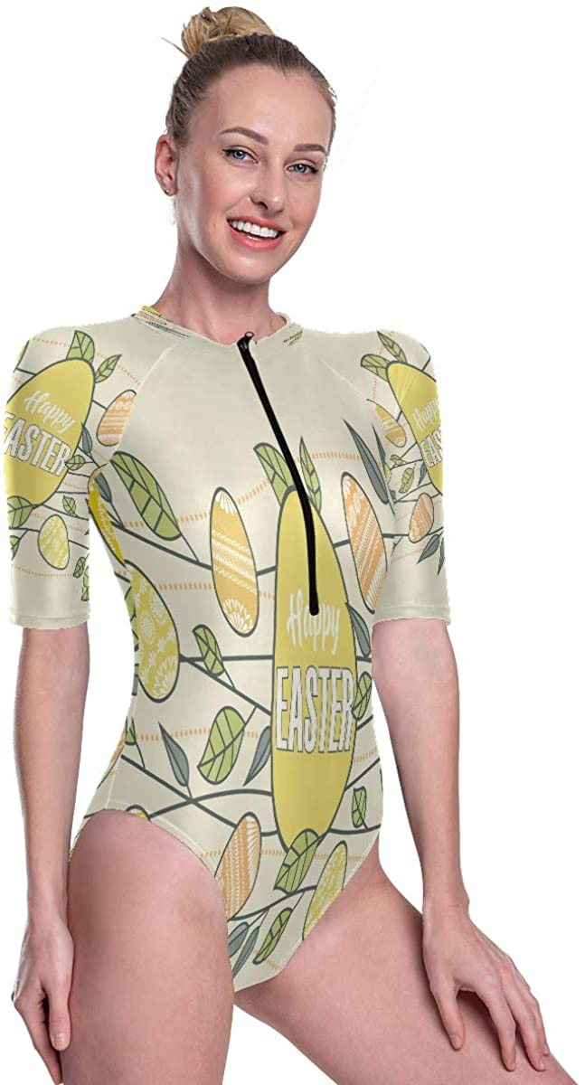 Godfery Gabriel Womens One Piece Short Sleeve Rashguard Swimsuit Easter Eggs Decoration with Branches Leaves Surf Swimwear