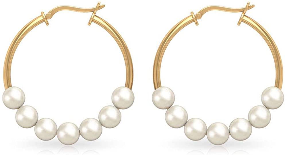 28Ct Pearl SGL Certified Hoop Earring, Classic Workwear Partywear Women Earring, Seven Round Pearl Statement Earring, Stackable Gold Hoop Earring, clip-on
