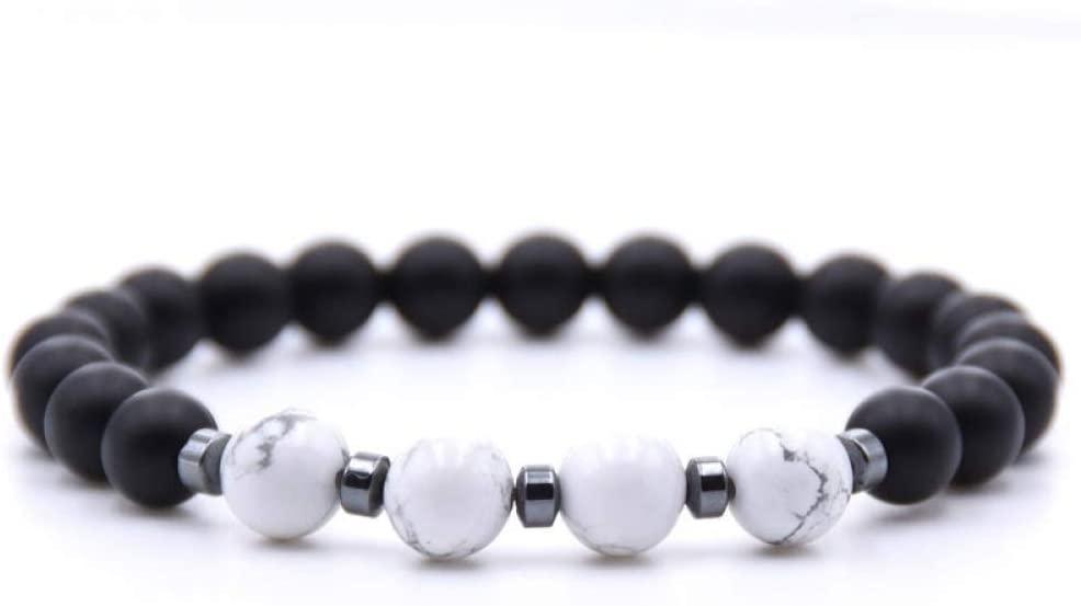 BXZ Stone Bracelet,Marble White Pendant Natural Stone Beads Volcanic Lava Rock Beads Bracelet Women Men Fashion Stretch Bracelets Bangle Charm Birthday Wedding Party