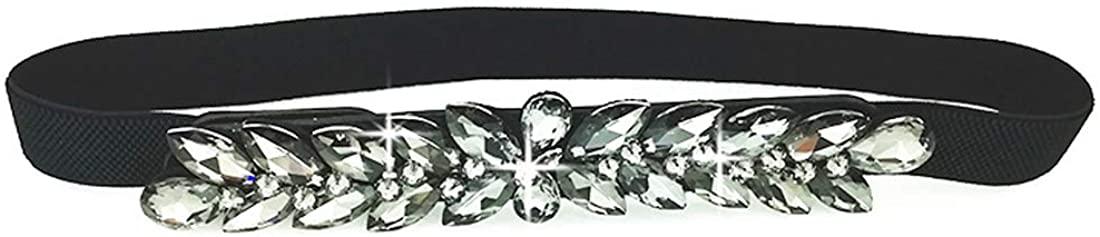 Globalwells Women Rhinestone Belt Crystal buckle Elastic Waistband Cummerbund stretch for Dress