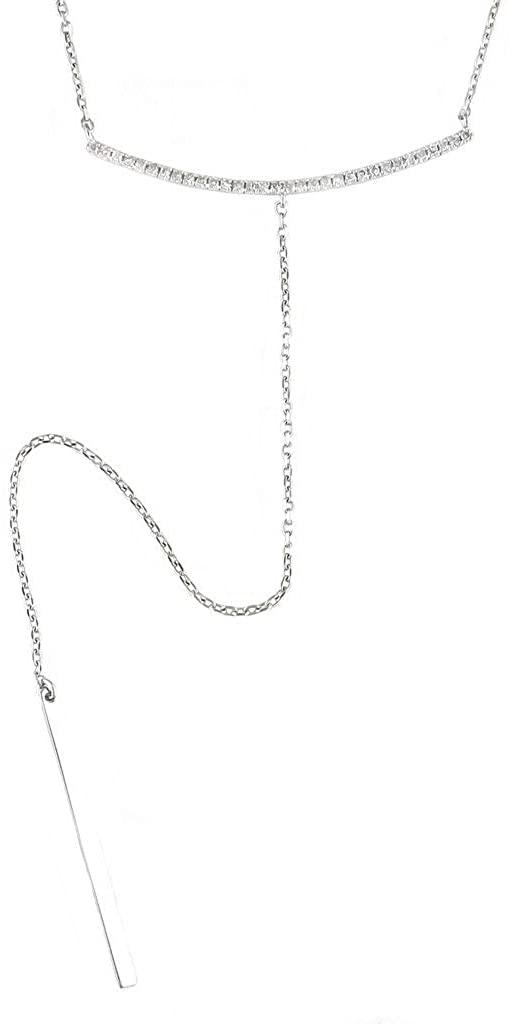 925 Sterling Silver Lariat Single Cut Pave Set 0.17 dwt Diamond Necklace