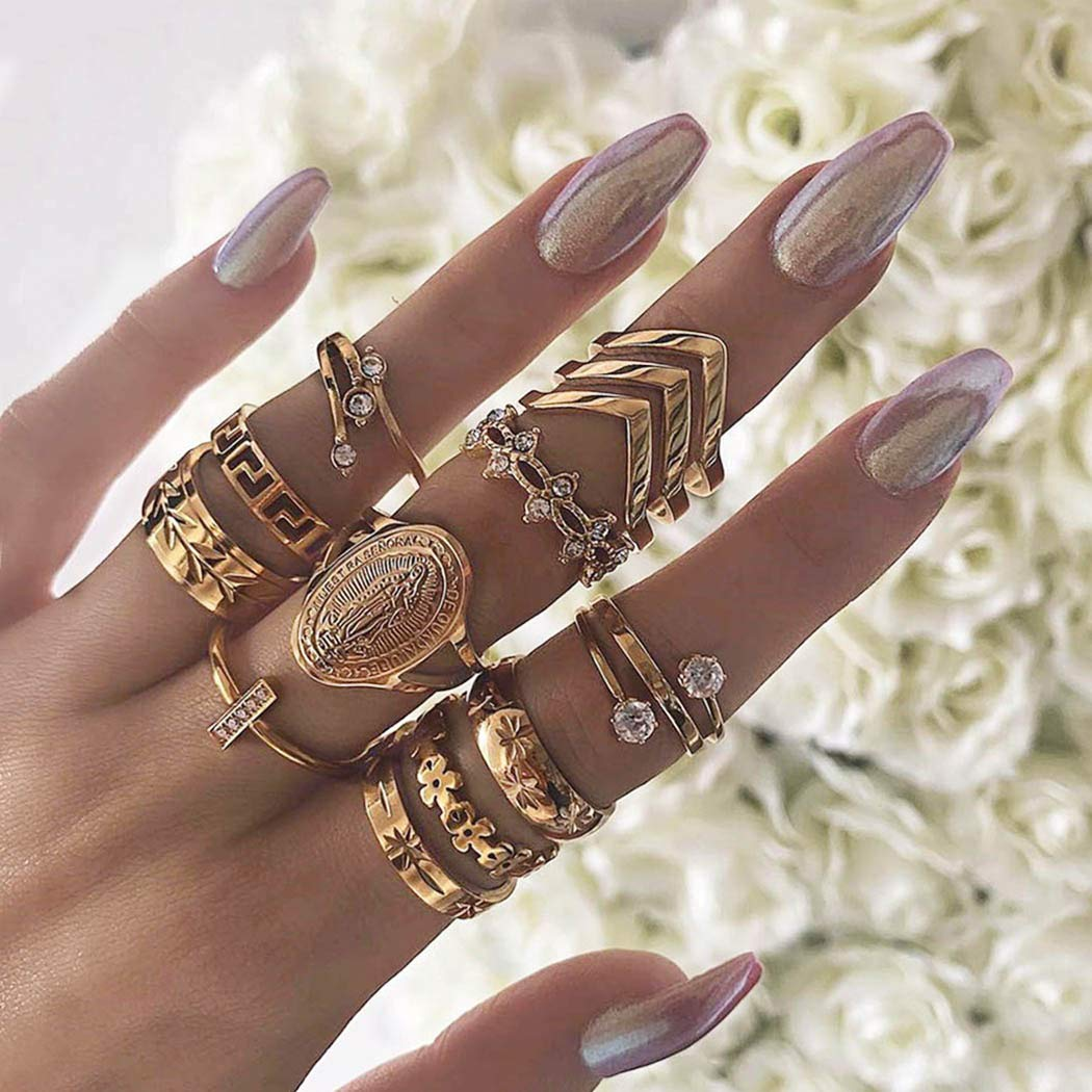 Nicute Gold Finger Rings Set Stackable Joint Knuckle Rings Vintage Hand Accessories for Women and Girls(13 PCS)