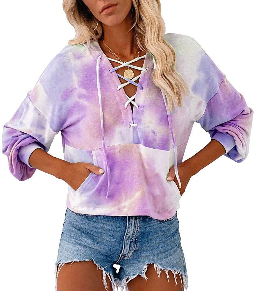 PINUPART Women's Trendy Tie Dye Lace up Pocketed Hoodie Medium Light Purple
