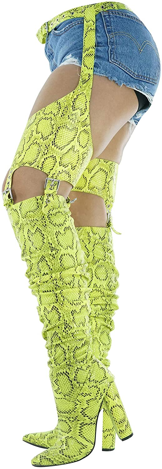 Cape Robbin Sexy Thing Thigh High Over The Knee Boots with Chap, Chunky Block Heel, Fashion Dress Boots for Women