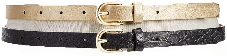 INC International Concepts Women's 2-for-1 Metallic & Embossed Skinny Belts (Yellow, L)