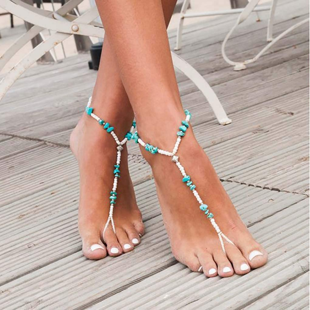 Aularso 2PCS Boho Anklet Bead Barefoot Sandals Turquoise Ankle Bracelets Ring Foot Chain Beach Feet Jewelry for Women and Girls