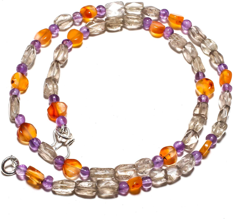 kanta incorporation Smokey Topaz Natural Gemstone Beads Jewelry Necklace 17