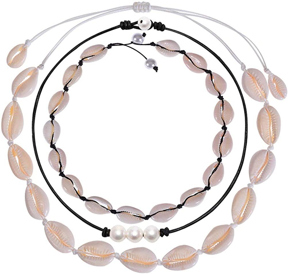 Nanafast 3Pcs Shell Necklace Choker Handmade Seashell Necklace Pearl Choker Hawaiian Adjustable Summer Beach Necklaces for Women Girls