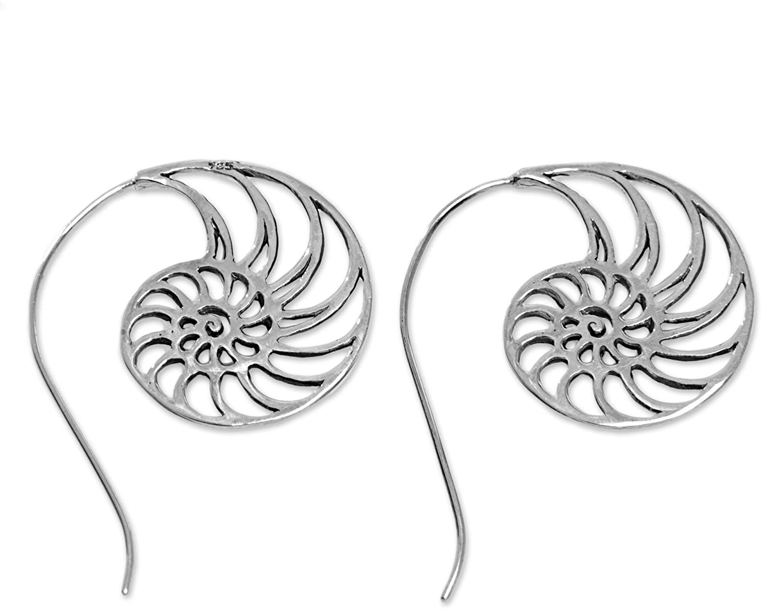 NOVICA .925 Sterling Silver Nautilis Shell Cross Section Drop Earrings 'Spiral Nautilus'