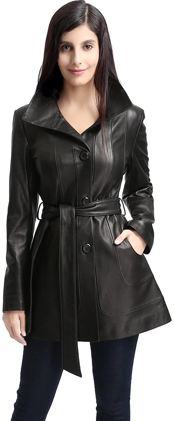 BGSD Women's Madison Lambskin Leather Coat (Regular and Plus Size and Short)