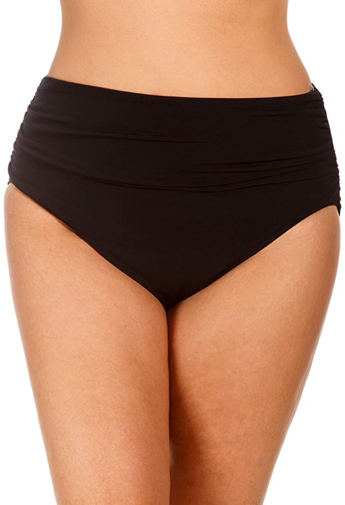 Magicsuit Women's Plus Fabric Shirring Jersey Brief Swim Bottom with Full Coverage and No-Show Waistline