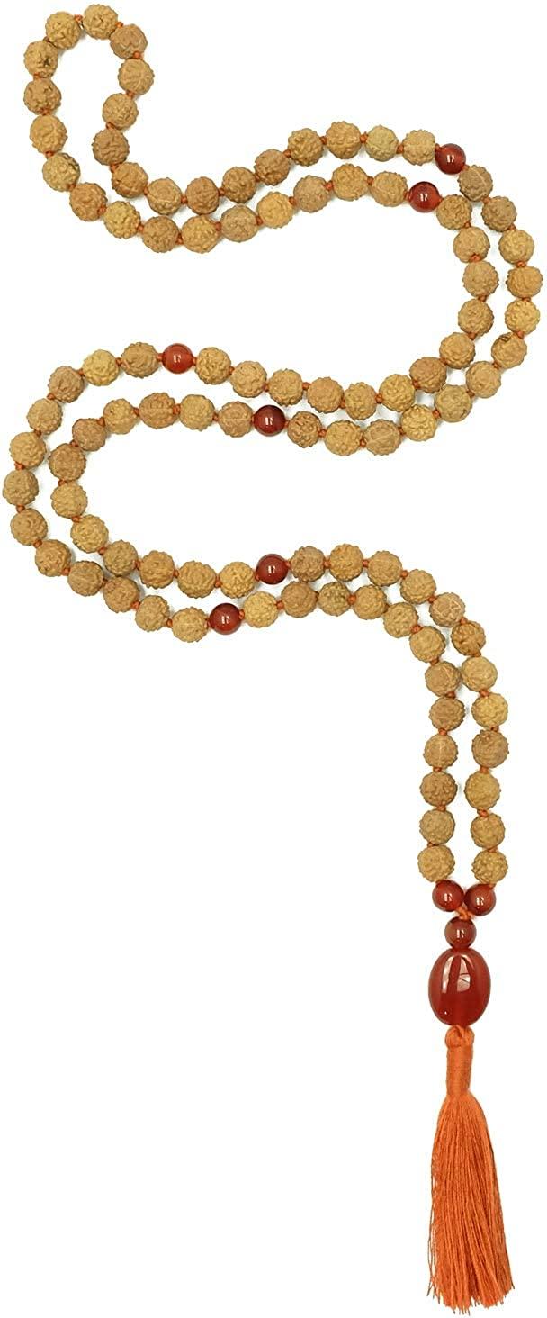 Meditation Rudraksha Malas with Stones, 108 Beads 7mm (Carnelian)