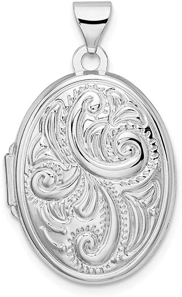FB Jewels Solid 925 Sterling Silver Rhodium-Plated Scroll Oval Locket