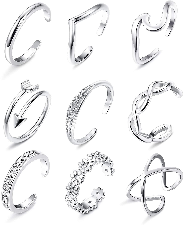 Besteel 9Pcs Open Toe Rings for Women Arrow Flower Knot Adjustable Tail Band Rings Summer Beach Foot Jewelry Set