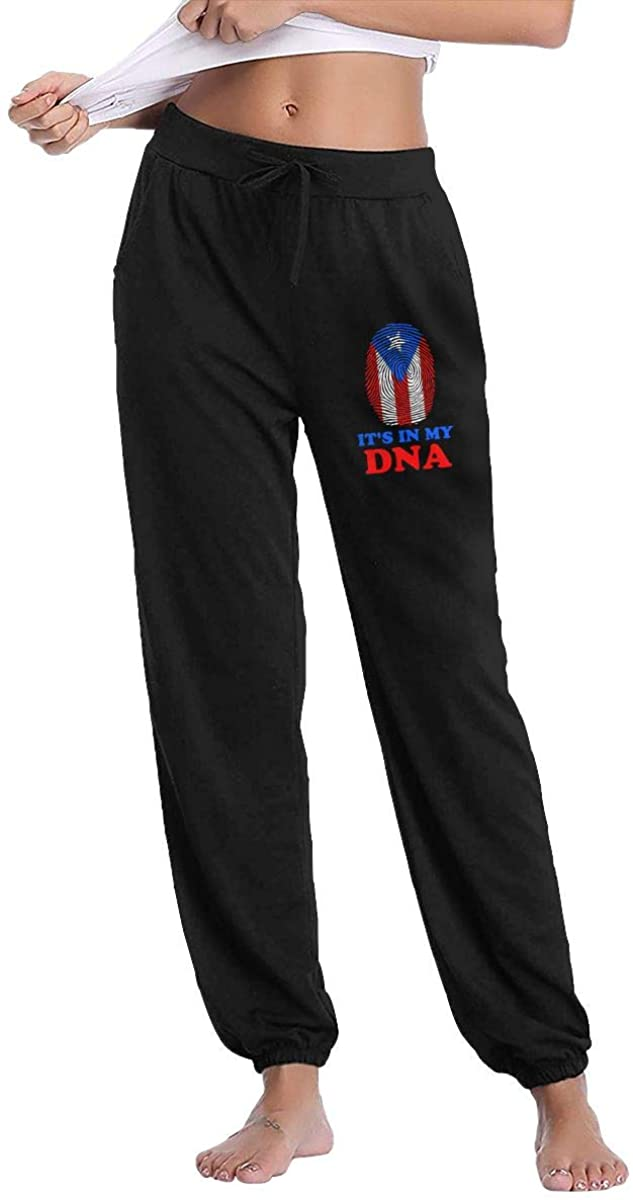 Women's Casual Sweatpants Puerto Rico Flag It's in My DNA Fitness Training Jogger Pant