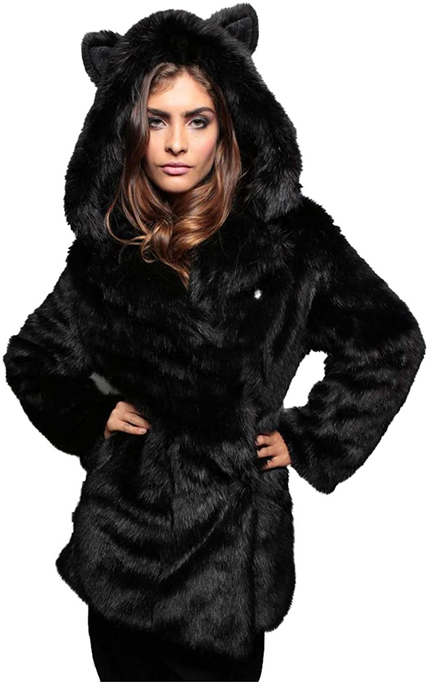 Dawwoti Women's Faux Fur Long Parka Outwear Warm Long Sleeve Luxury Hoodie Overcoat for Christmas Party