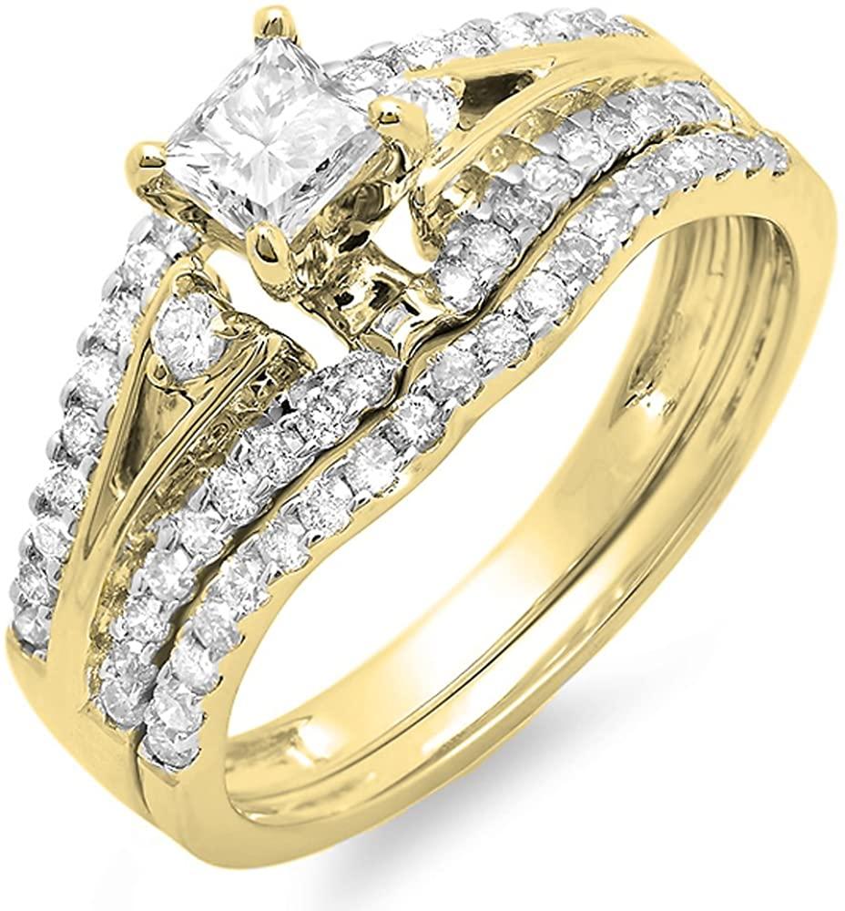 Dazzlingrock Collection 1.00 Carat (ctw) 14K Gold Princess & Round Diamond Ladies Bridal Engagement Ring Set 1 CT