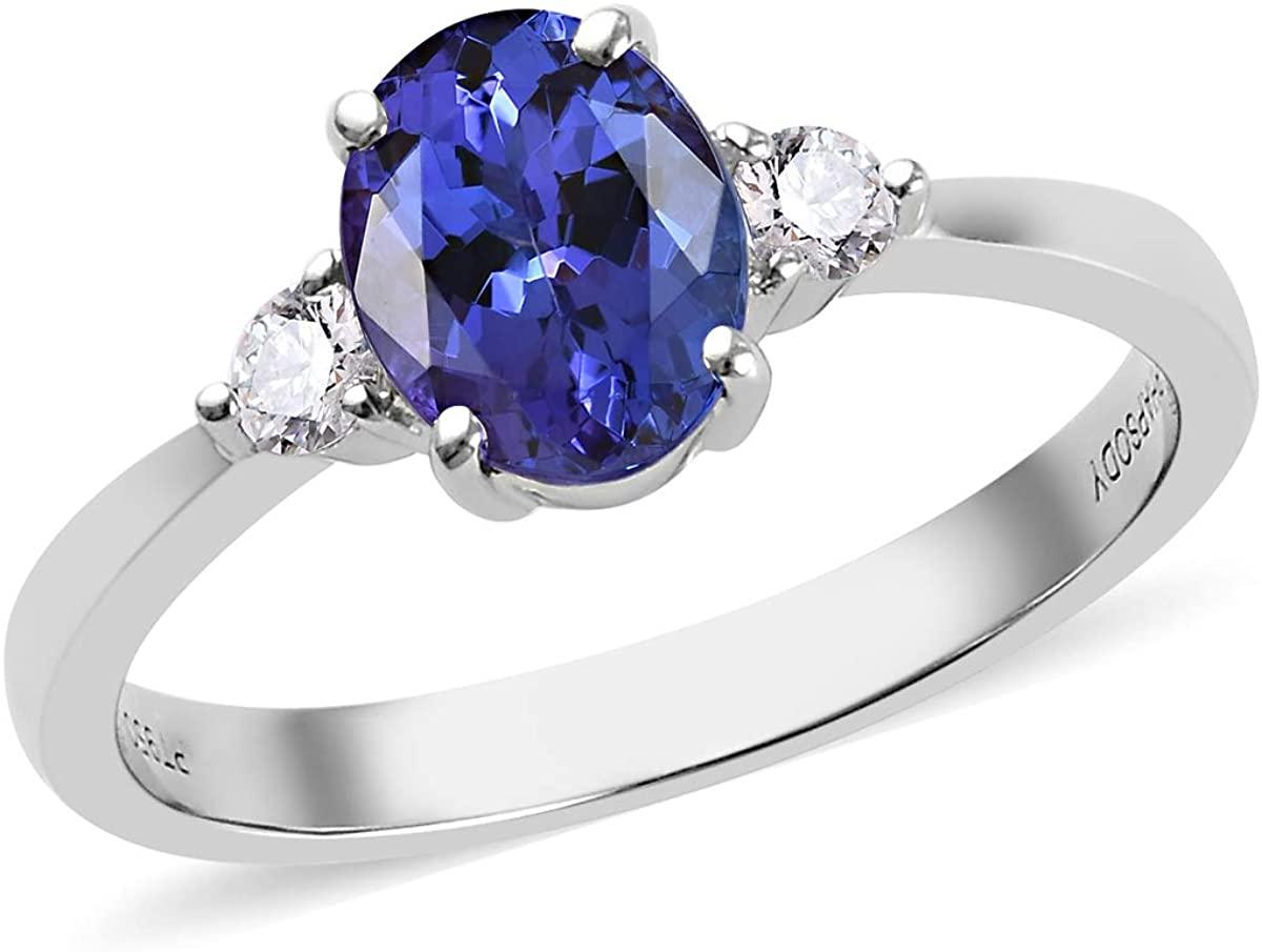 Shop LC Delivering Joy Rhapsody 950 Platinum Oval AAAA Blue Tanzanite White Diamond Ring Anniversary Jewelry for Women Size 6 Ct 2 E-F Color Vs1-Vs2 Clarity
