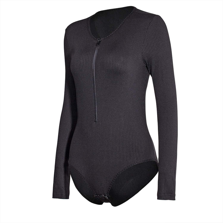 MEALIYA Women Bodycon Jumpsuits Rompers Tops with Zipper Long Sleeve Sexy Leotard Bodysuit