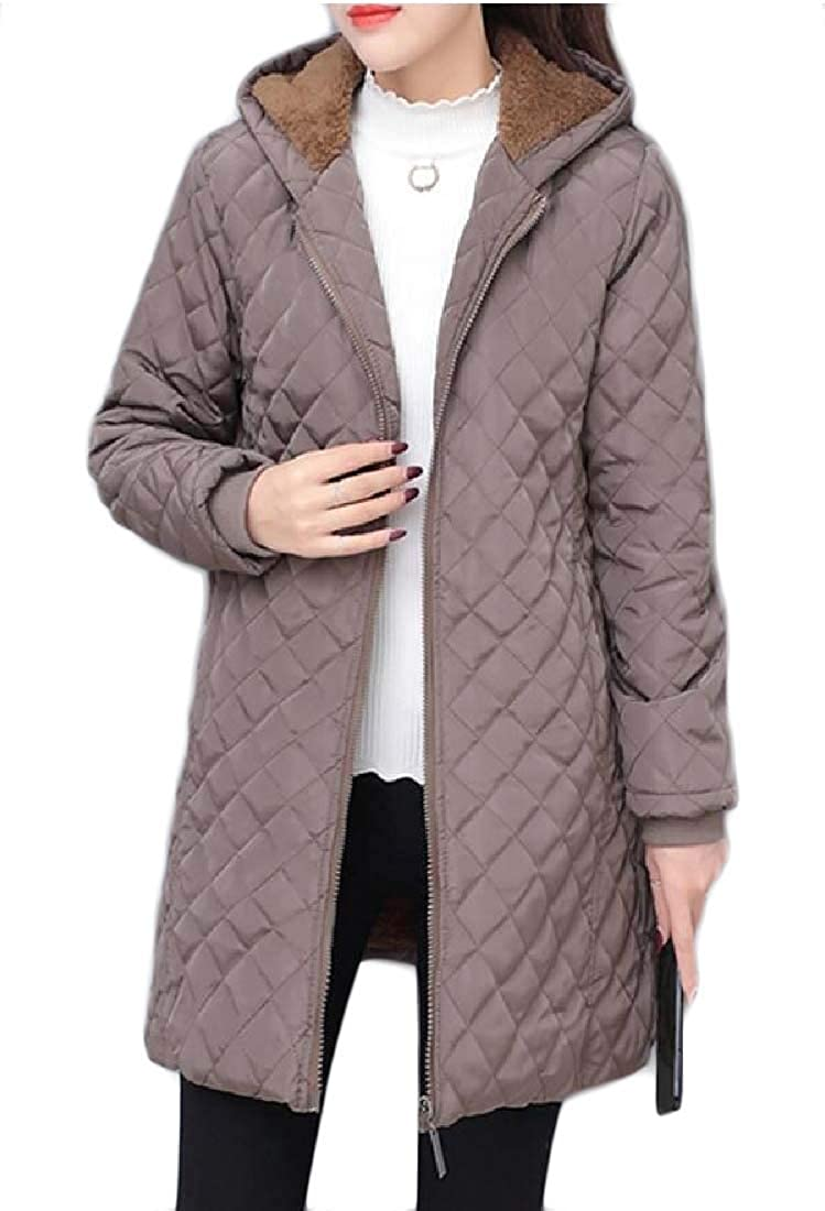 Smeiling Womens Quilted Jackets Warm Lamb Wool Hooded Cardigan Jacket Coats