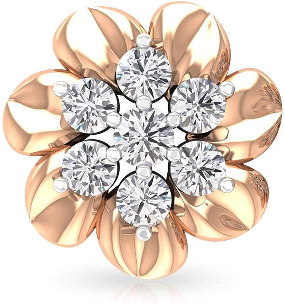 Delicate 0.33 CT IGI Certified Diamond Flower Earring, IJ-SI Color Clarity Diamond Cluster Stud Earring, Statement Bridal Wedding Earring, Mother Gift, Screw Back