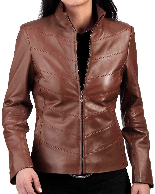 SKINOUTFIT Women's Leather Jacket Stylish Motorcycle Biker Genuine Lambskin 52