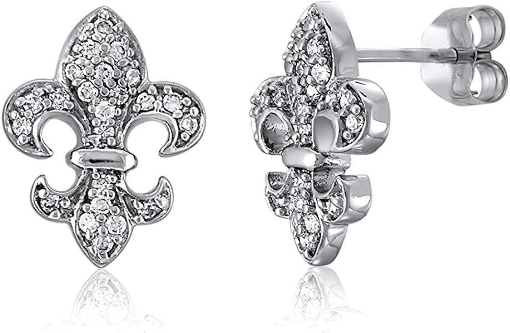 BERRICLE Rhodium Plated Sterling Silver Cubic Zirconia CZ Fleur De Lis Wedding Stud Earrings