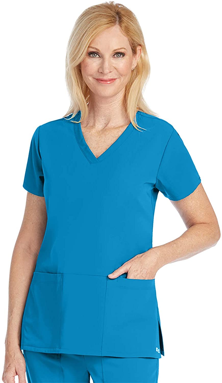Grey's Anatomy Signature 2115 Women's 3 Pocket Crossover V-Neck Scrub Top Mediterranean XL