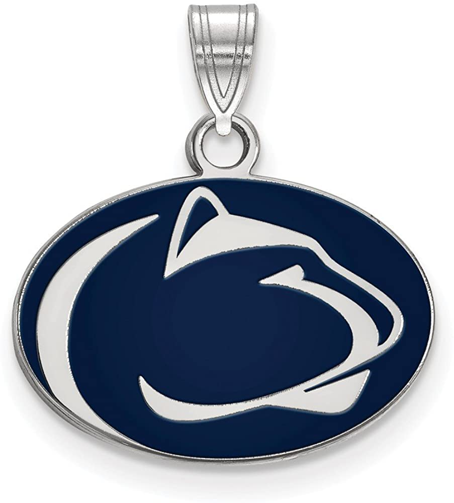 Solid 925 Sterling Silver Official Penn State University Small Enamel Pendant Charm - 20mm x 18mm