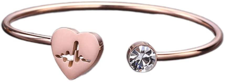 Happyyami 1pc Open Heart Bangle Titanium Steel Love Cuff Bracelets for Women Gift Couple Jewelry Birthday (Rose Gold)