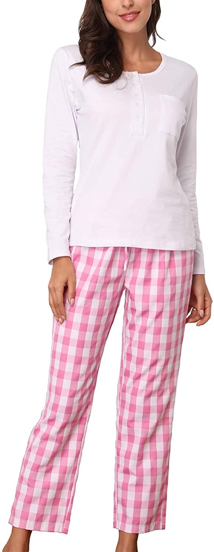 Giorzio Cotton Pajamas Set for Women Plaid Long Sleeve Button-Top Pjs Sleepwear White L
