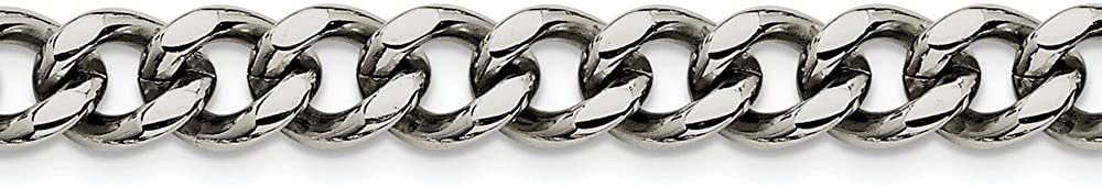 Stainless Steel 9.5mm 22in Cuban Curb Chain Necklace - with Secure Lobster Lock Clasp