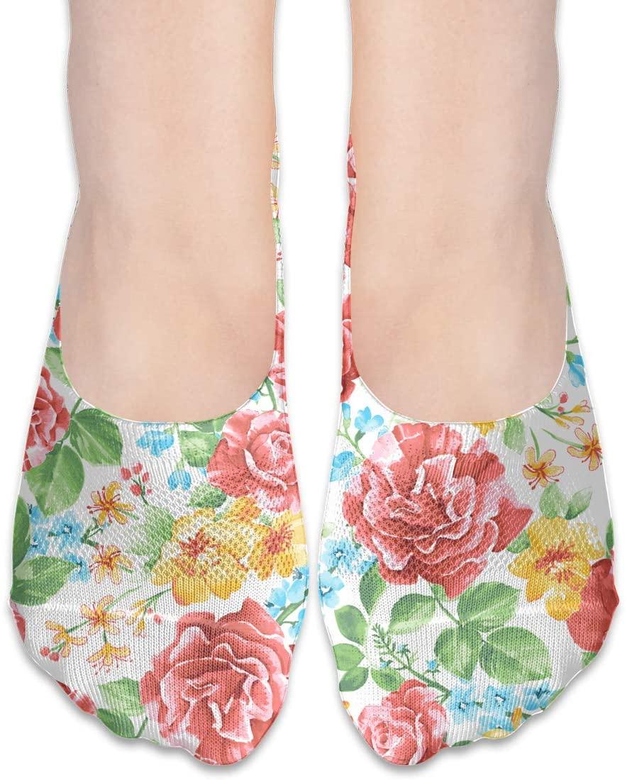 FriendEver No Show Socks,Watercolor Rose Casual Invisible Flat Socks,Breathable Anti-Odor Low Cut Women Cotton Sox,Non Slip Liner Sock