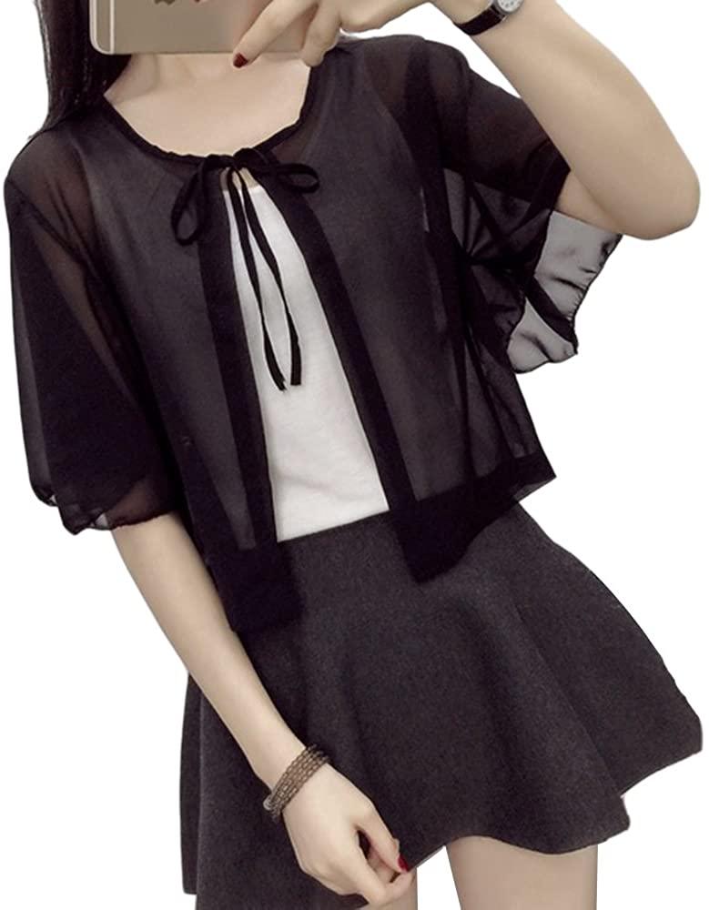 Uther Women's Sheer Chiffon Cardigan Jacket Summer Shrug Short Top Jacket Shawl