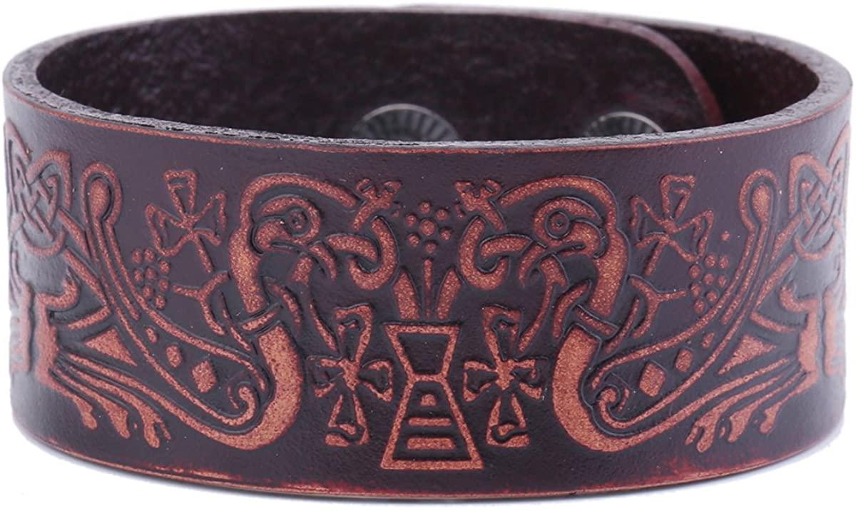 Dawapara Punk Vintage Wicca Amulet Immortal Bird Leather Handmade Wristband Cuff Bracelet Women Jewelry