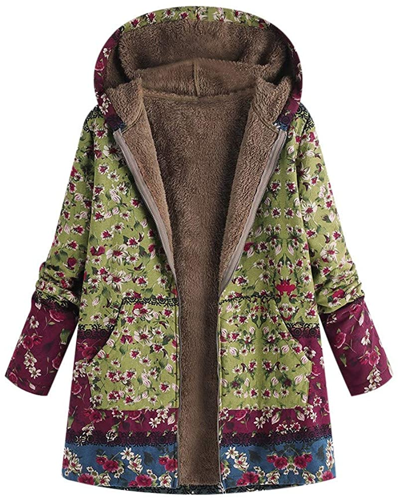 ZEFOTIM Womens Winter Warm Outwear Floral Print Hooded Pockets Vintage Oversize Coats