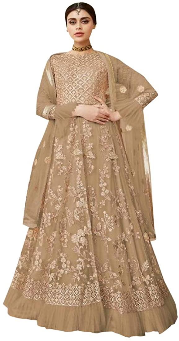 9169 Hit Indian Ready To Wear Beige Butterfly Net Anarkali Suit Lehenga Pakistani Dress Bridal Wedding Festive Wear Women Girls Stitched