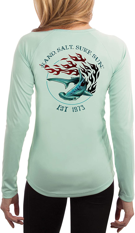 SAND.SALT.SURF.SUN. Flaming Shark Women's UPF 50+ UV Sun Protection Performance Long Sleeve T-Shirt